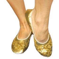 Bleyer-Tanzschuhe, bestickt - gold